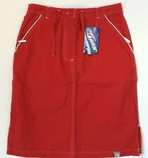 TRESPASS Skirt Red UK 8 10 & 12 White Trim Cotton Mix Knee Length Fly Zip BEANS