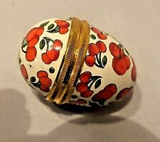 Halcyon Days Cherries Enameled Egg Pill Box No Box