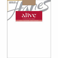 2 Hanes Alive Full Support Control Top Reinforced Toe Pantyhose 810