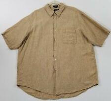Nautica Men's Short Sleeve Button Up Linen Shirt XXL 2XL Brown Pocket Casual