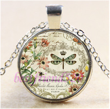 Vintage Dragonfly Photo Cabochon Glass Tibet Silver Chain Pendant Necklace#M44