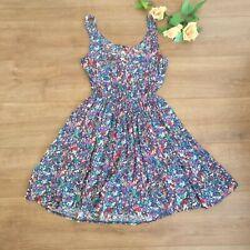 Warehouse blue colorful sleeveless a line floral dress size 10 elastic waist