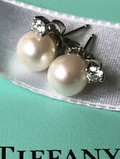 Tiffany & Co. Signature Pearl and Diamond 7mm Stud Earrings 18k White Gold