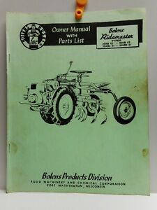 Vintage - Bolens Huski  Ridemaster - Owner Manual with Parts List - 1950's
