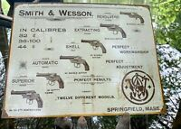 S&W Revolvers Vintage Metal Tin Sign Wall Decor Garage Man Cave Home Gun Shop