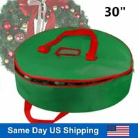 "30"" Green Wreath Clean up Christmas Xmas Wreath Storage Bag with Zipper & Handle"