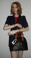 VALENTINA ITALIAN DESIGN LEATHER BUGATTI SATCHEL BAG IN BLACK NWT