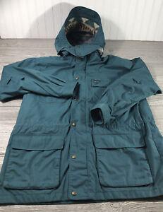 VTG EDDIE BAUER Mens Size L Mountain Parka Wool Lined Jacket Full Zip Hood Green