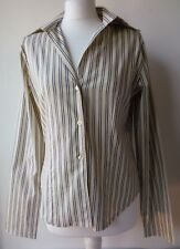 BENETTON SHIRT BLOUSE ivory striped business summer cotton UK10 Pit to pit 20in