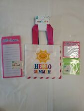 HELLO SUMMER, 2Ct. Mini Totes + 80 Sheets Magnetic List Pad & Sticky Notes, BNIP
