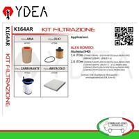 Kit Tagliando Filtri Alfa Romeo Giulietta 1.6 2.0 JTDm - Ydea K164AR