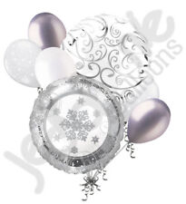 7 pc Silver Sparkling Snowflake Balloon Bouquet Party Decoration Snow Wedding
