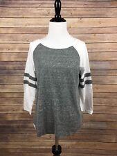 Ambiance woman's Regular size L shirt White & Grey 3/4 sleeve Cotton Blend, A6