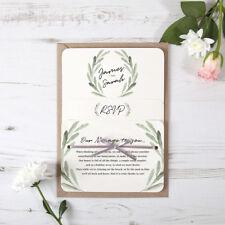 Olive Green Rustic Wedding Invitation & Satin Ribbon - Any Colour Sample