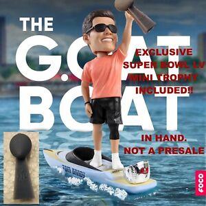 Tom Brady G.O.A.T Boat Bobblehead WITH SUPER BOWL TROPHY - NIB IN HAND! Ltd Ed