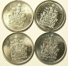 2000 2001 2002 2005 Canada 50 Cents Lot of 4 Unc #2659