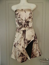 Karen Millen Silk Strapless Diamond Solitare Print Formal Dress Size 10