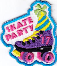 """SKATE PARTY"" -  Iron On Embroidered Patch - SPORTS - SKATER - ROLLER SKATES"