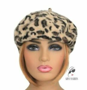 Quality Angora Wool Blend Beret Ladies Women's Hat Big Leopard Print Camel Brown