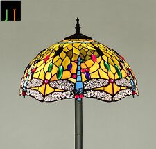 "Floor Lamp Tiffany 16"" Dragonfly Style Stained Glass Light Art Decor Leadlight"