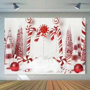Candy Canes Christmas Backdrop Photography Baby Kids Birthday Banner Background