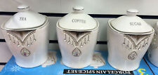 White Tea Coffee Sugar Canisters Diamante Crystals Kitchen Pineapple Jar
