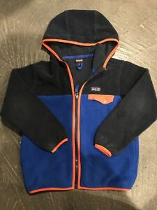 Patagonia Fleece Synchilla Snap T Zip Up Hoodie Kids Size S 7-8 Blue Pockets