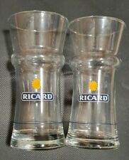 More details for 2 x rare unusual shaped ricard logo glasses - brand new old stock