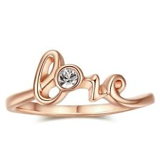 Friendship Engagement Rose Gold Plated Ring Shape of Love Cluster Statement