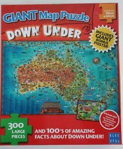 Blue Opal 300 large piece JIGSAW PUZZLE Giant Map Puzzle DOWN UNDER 90cm x 60cm