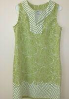 JBS Womens Sleeveless Shift Dress Size 8 Green & White Retro Vintage Floral