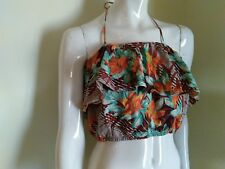 Woman cropped top FOREVER 21 medium floral Carribean Hawaii brown blue orange