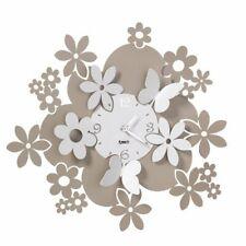 Orologio da Parete con  Fiori e Farfalle Daisy Arti e Mestieri Sabbia e bianco m