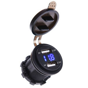 BLUE Dual USB Charger Socket Power Outlet 4.2A+ Voltmeter &Wire In-line 10A Fuse