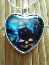 Halloween Cat Photo Tibet Silver Cabochon Glass Heart Pendant Heart Necklace