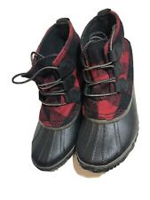 Women's Sorel Out N About Black Red Plaid Snow Rain Winter Duck Boots Size 7.5