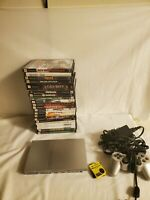 PlayStation 2 PS2 Slim Satin Silver with Matching DS2 Controller 22 games