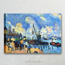 Cezanne, La senna di Bercy QUADRO MODERNO ARTE INTELAIATO STAMPA TELA QUADRI