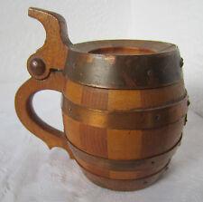 ۞ WW2 rare old Antique wooden German beer Mug, wood / copper barrel shaped   /4/