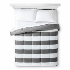 NEW Rugby Stripe Comforter - Room Essentials Earth Gray King