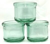Set of 3 Round Green/Blue Tinted Thick Glass Votive Pillar Candle Holders Cups