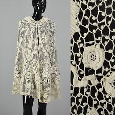 1910s  Antique Edwardian Guipure Lace Cape Bridal Wedding Cloak Sheer Wrap VTG