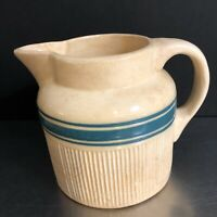Hull Pottery Milk Jug Pitcher Creamer Beige Blue Stripe Ribbed USA VTG Kitchen