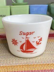 McKee Red Ships Sailboat Sugar Canister Jar Base
