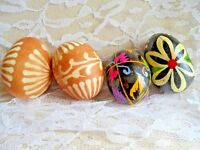 Vintage Easter Eggs  - FOUR HAND PAINTED WOOD EASTER EGGS