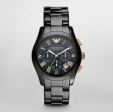 Runde polierte Emporio Armani Armbanduhren mit Chronograph