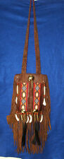 Fancy Beaded Brown Leather Bag Fringed Authentic Native American Regalia MS02