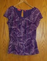 Elle Women's size medium purple with pattern short sleeve blouse shirt top