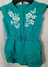 Baby Gap Romper Blue Green White Butterfly Floral Toddler Girl Size 18-24 Months
