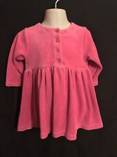 Babybaby Baby Girl Velour Long Sleeve Pink Dress Size 12-18 Months